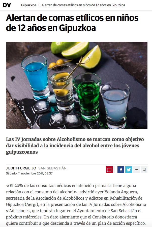 AERGI artículo sobre comas etílicos en jóvenes en diariovasco.com